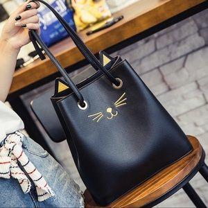 Black Kitty Cat Face Shoulder Bag